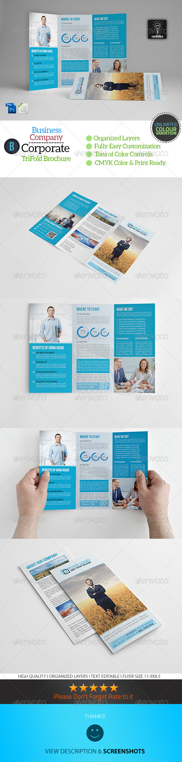 A4 Trifold Business Brochure Template - Corporate Brochures