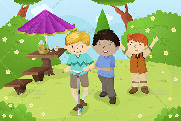 Boys Playing in a Park - People Characters