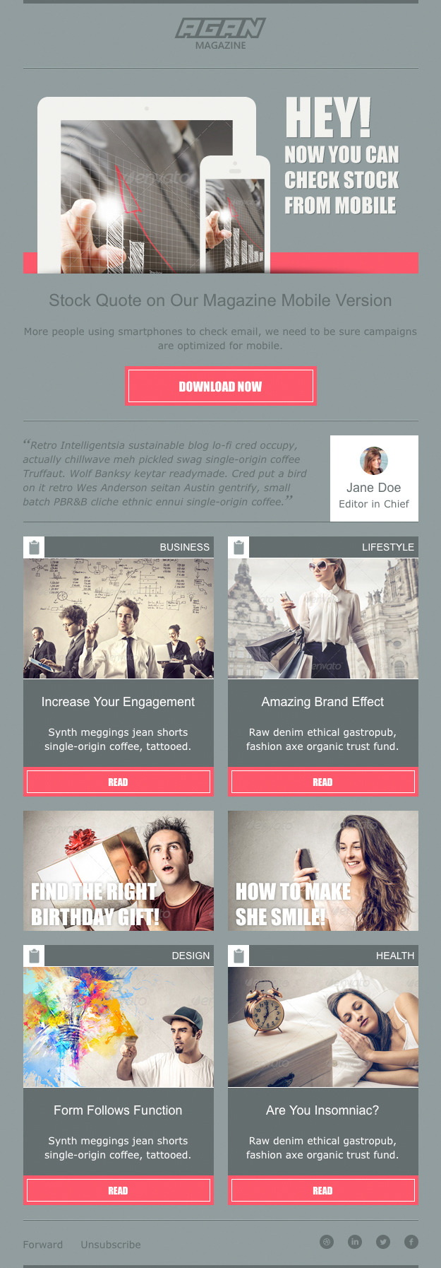 Agan - Responsive Email Marketing Template by Jakartanese | ThemeForest