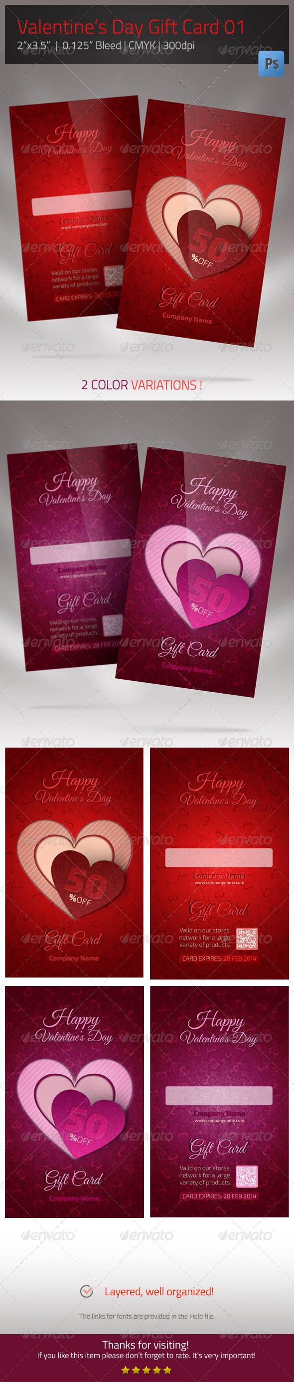 Gift Card for Valentines Day  - Loyalty Cards Cards & Invites