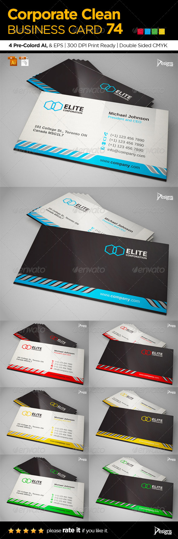 Corporate Clean Business Card 74 - Business Cards Print Templates