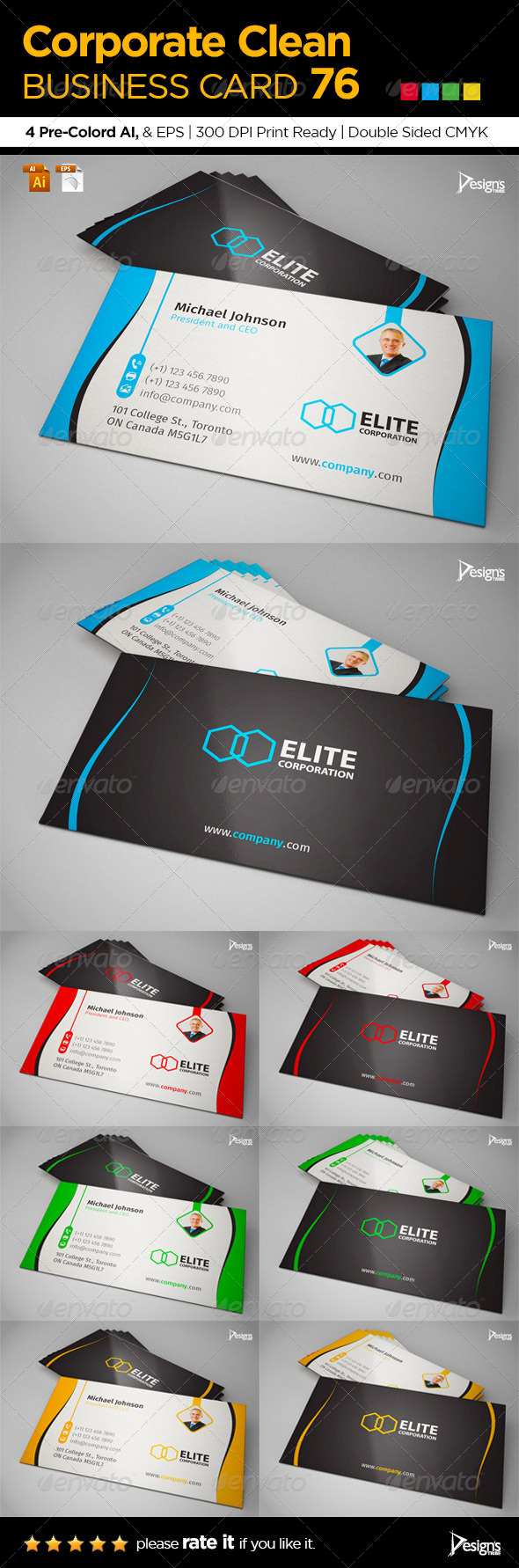 Corporate Clean Business Card 76 - Business Cards Print Templates