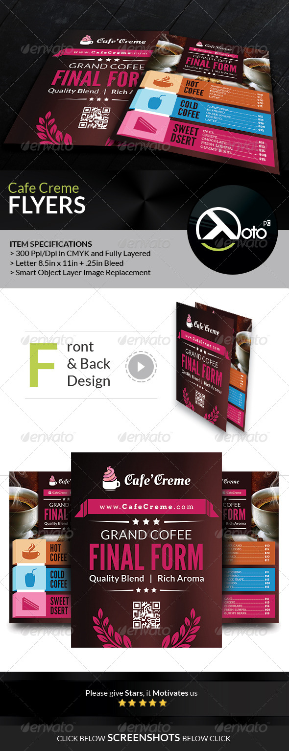 Cafe Creme Coffee Store Flyers - Flyers Print Templates