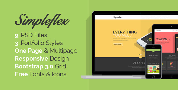 Simpleflex - OnePage & MultiPage Flat PSD template - Creative PSD Templates