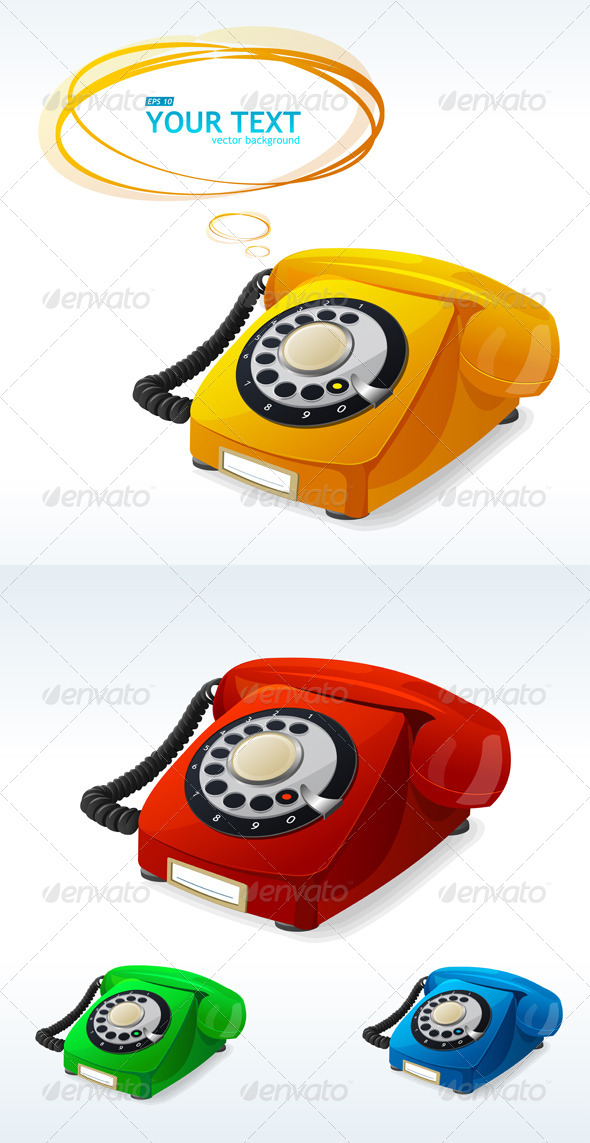 Old Phones Color Collection - Retro Technology