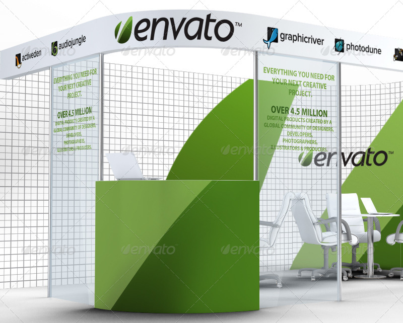 Exhibition Stand Free Mockup : Trade exhibition stand and blank roll banner d render stock