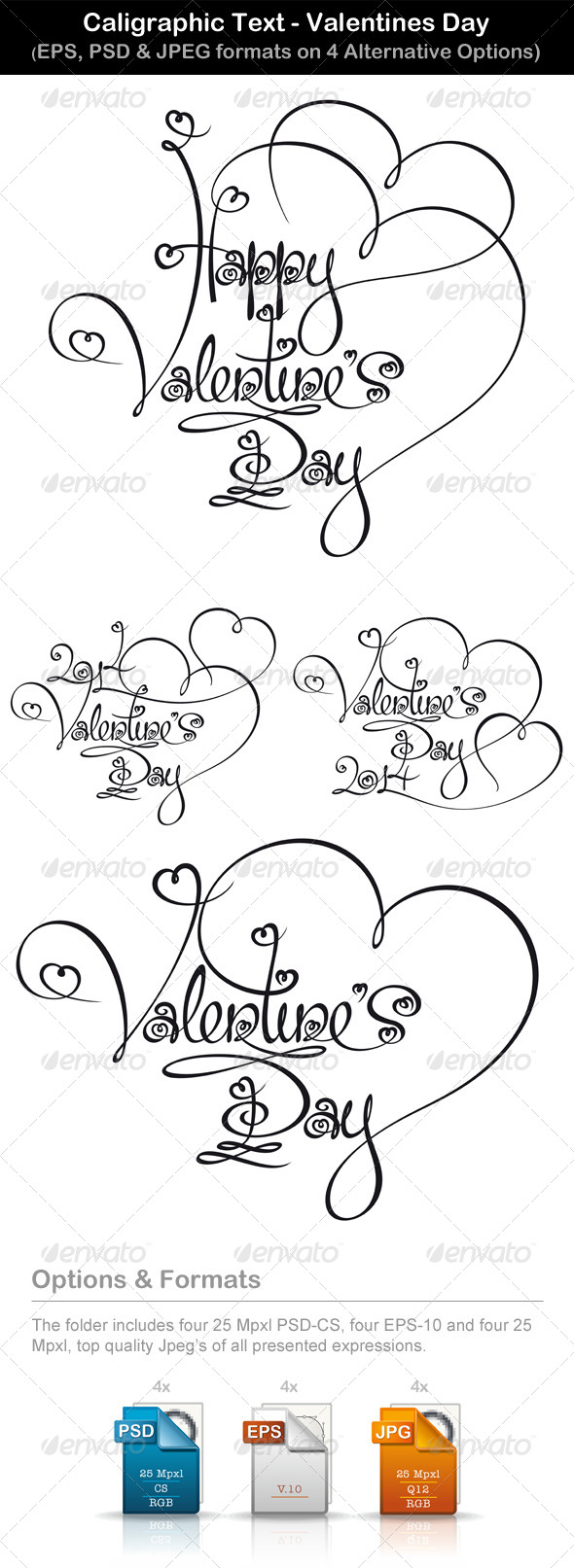 Caligraphic Text Valentines Day - Valentines Seasons/Holidays