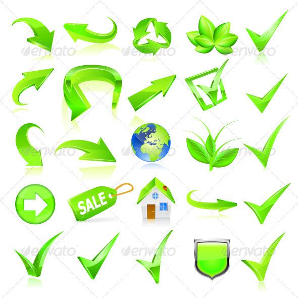 Green Web Elements Set - Web Technology