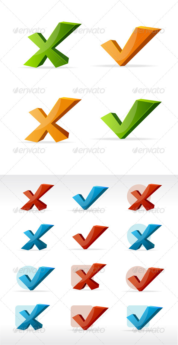 Check Mark Yes No Color Set  - Web Elements Vectors