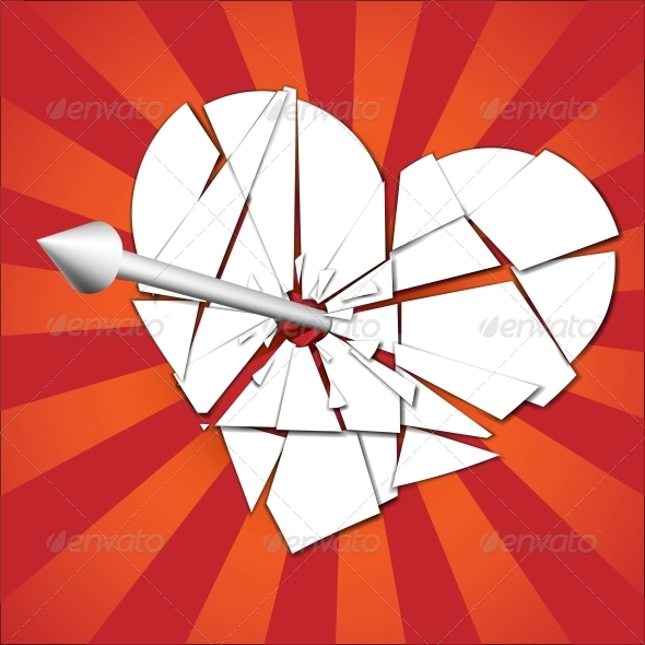 Broken Heart Pierced by an Arrow - Valentines Seasons/Holidays