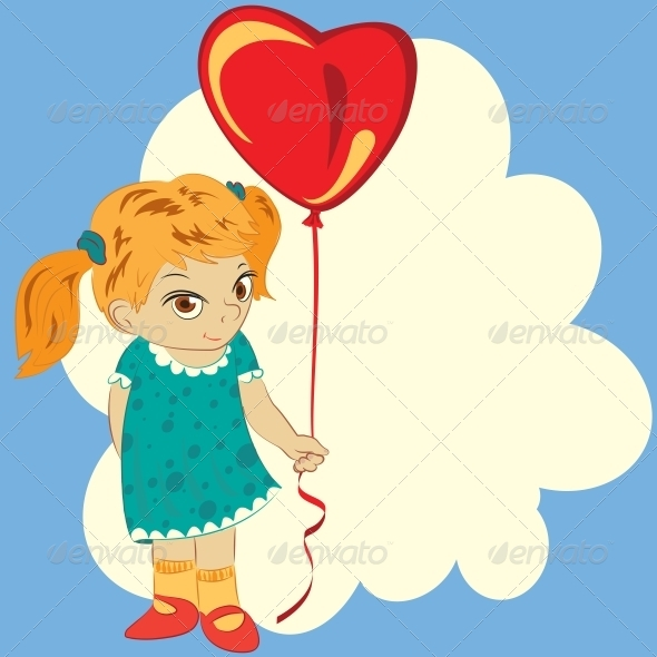 Girl with Balloon - Valentines Seasons/Holidays