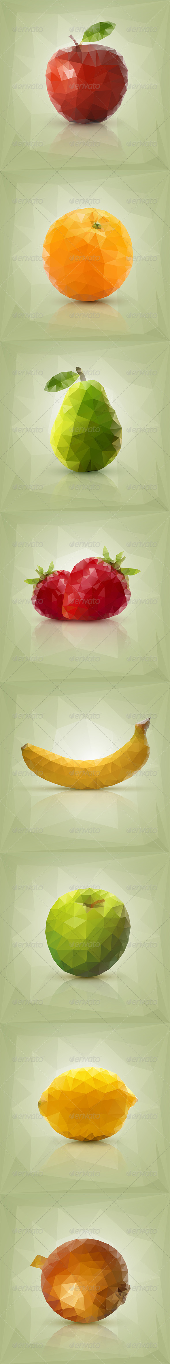 Triangle Polygon Fruit Illustrations - Food Objects