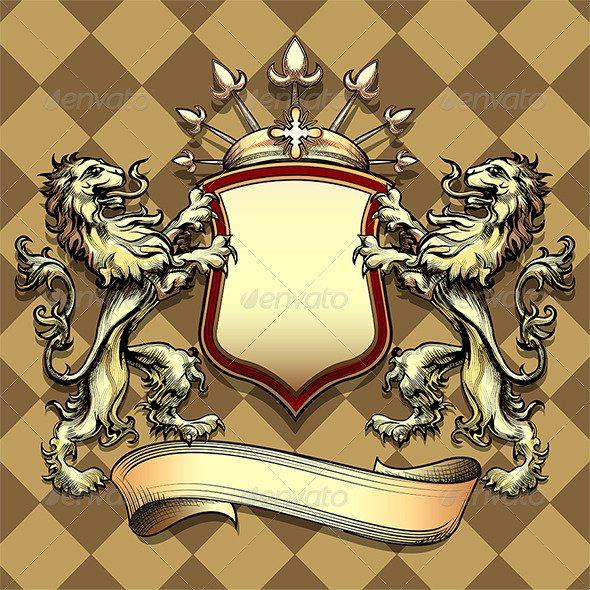 The Shield with Lions - Objects Vectors