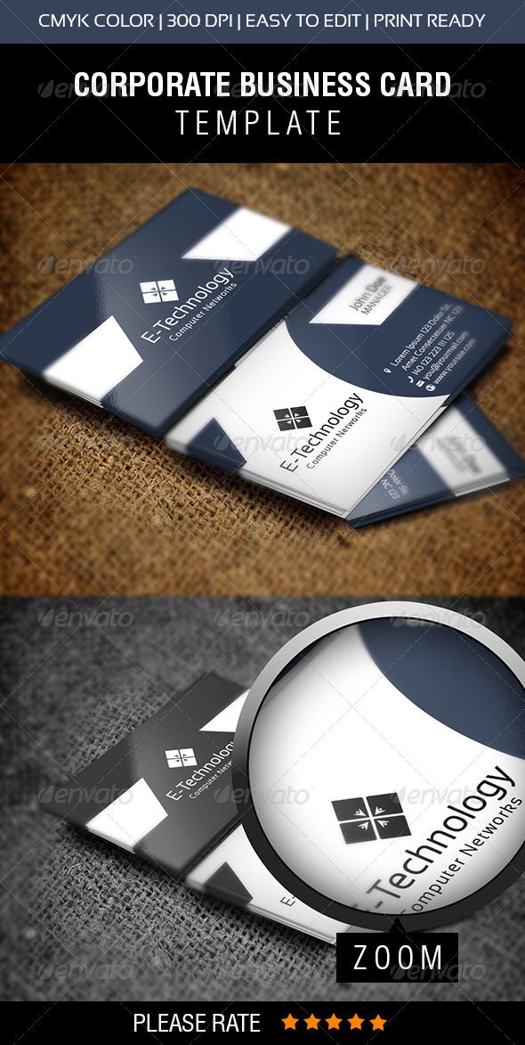 E-Technology Business Card - Corporate Business Cards