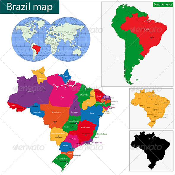 Brazil Map - Travel Conceptual