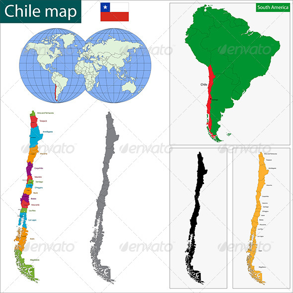 Chile Map - Travel Conceptual