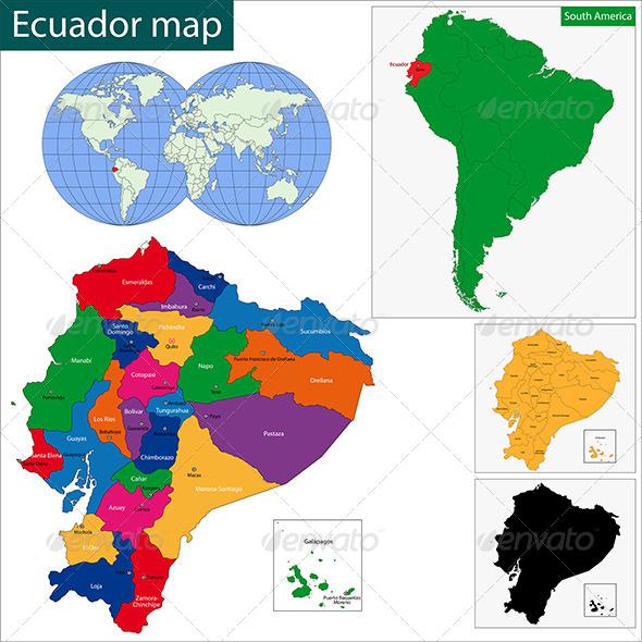 Ecuador Map - Travel Conceptual