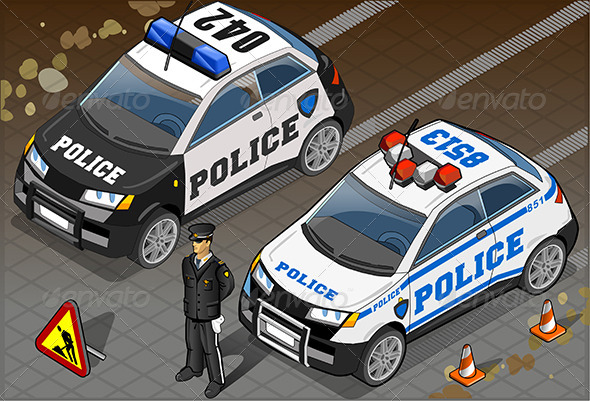 Two Isometric Police Car in Front View - Objects Vectors