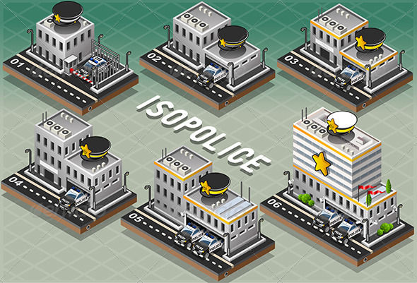 Set of Isometric Police Station - Buildings Objects