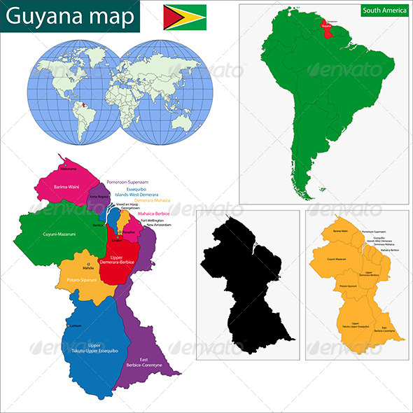 Guyana Map - Travel Conceptual