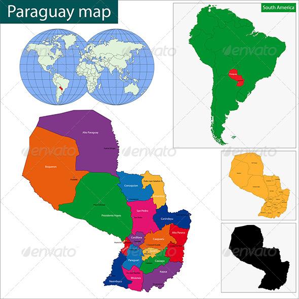 Paraguay Map - Travel Conceptual