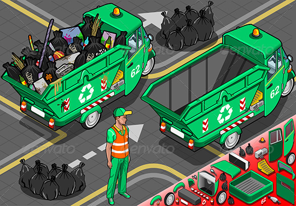 Isometric Garbage Rickshaw in Rear View - Objects Vectors