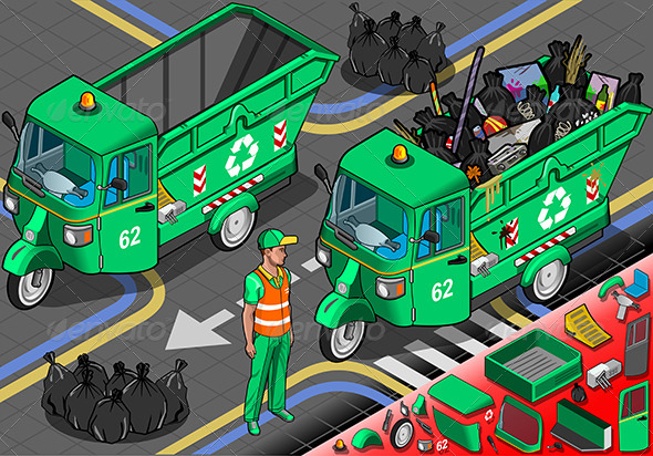 Isometric Garbage Rickshaw in Front View - Objects Vectors