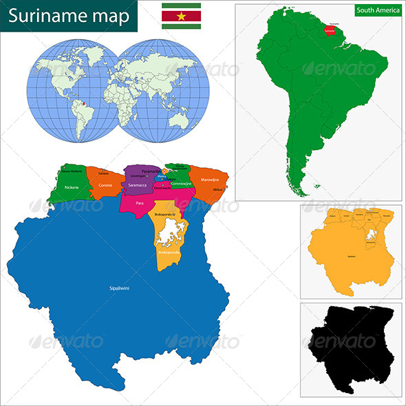 Suriname Map - Travel Conceptual
