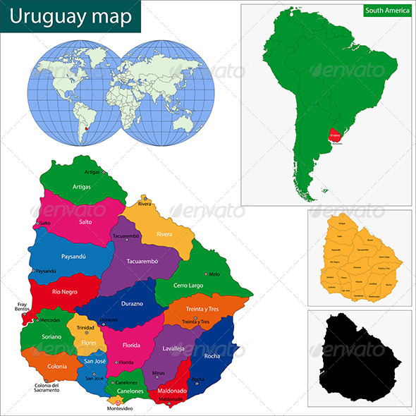 Uruguay Map - Travel Conceptual