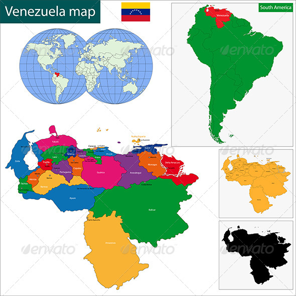 Venezuela Map - Travel Conceptual