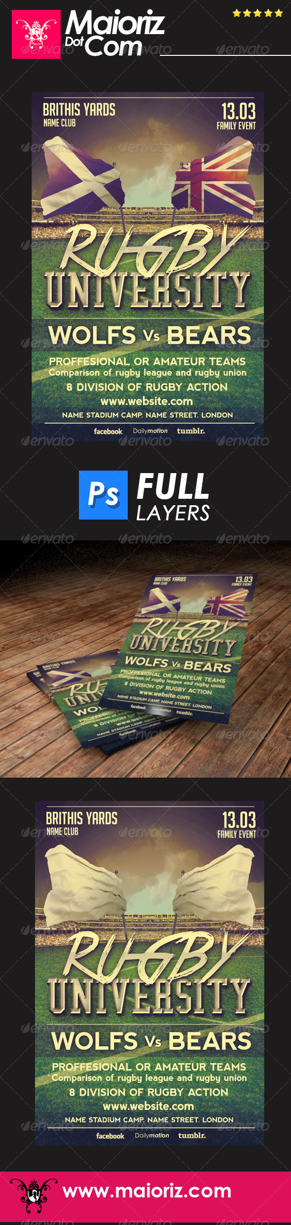 University Rugby Flyer - Sports Events