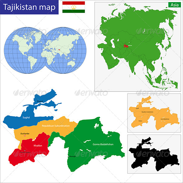 Tajikistan Map - Travel Conceptual