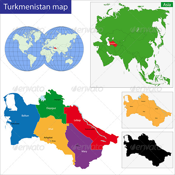 Turkmenistan Map - Travel Conceptual