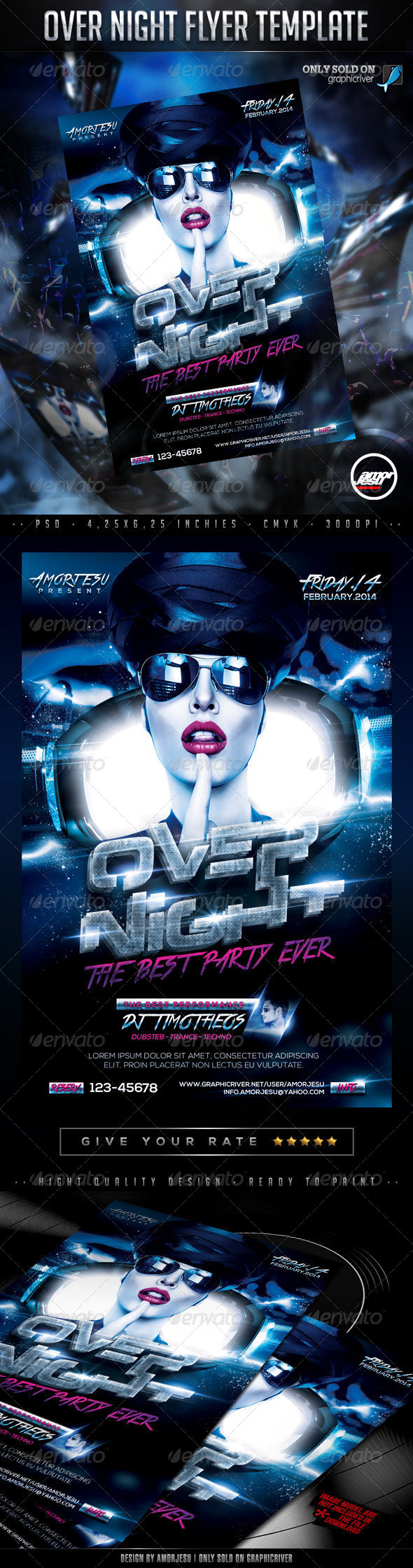 Over Night Flyer Template - Clubs & Parties Events