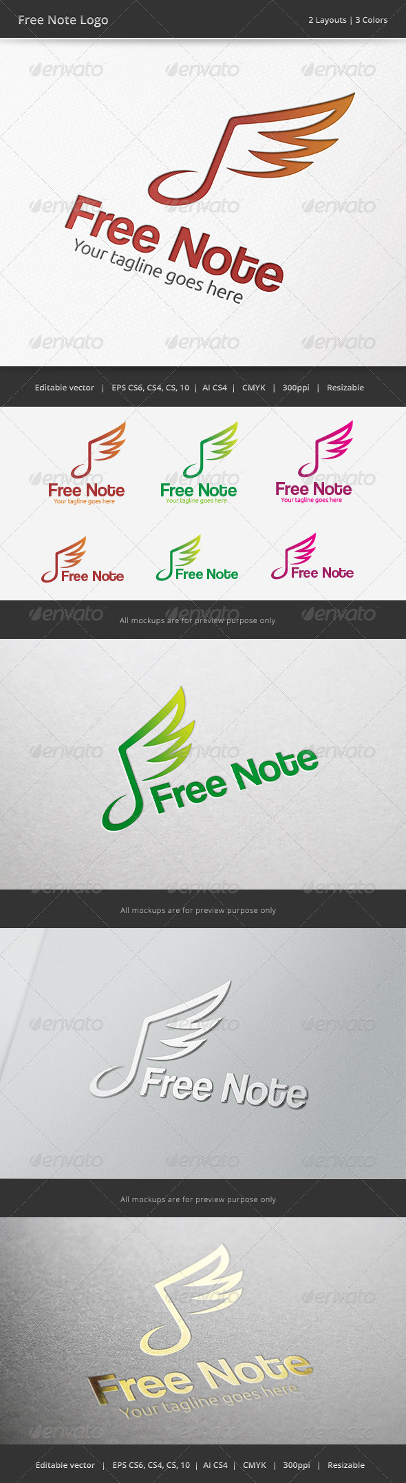 Freedom Note Logo - Symbols Logo Templates
