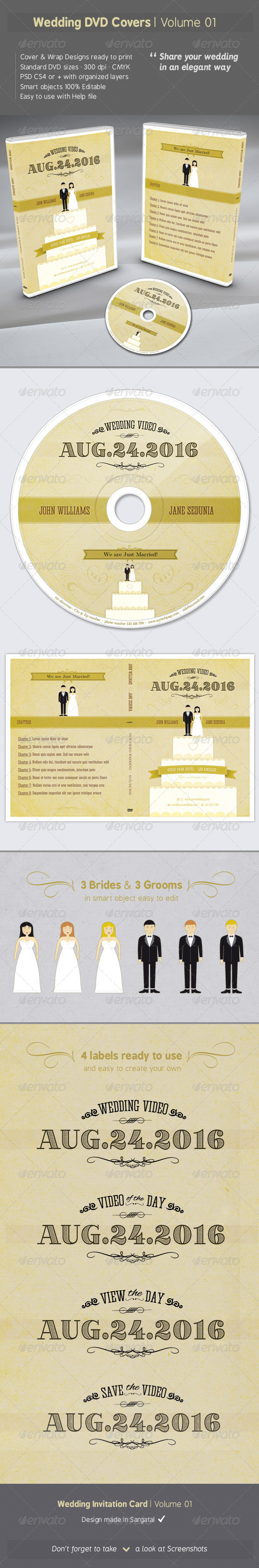 Wedding DVD Covers - Volume 01 - CD & DVD Artwork Print Templates