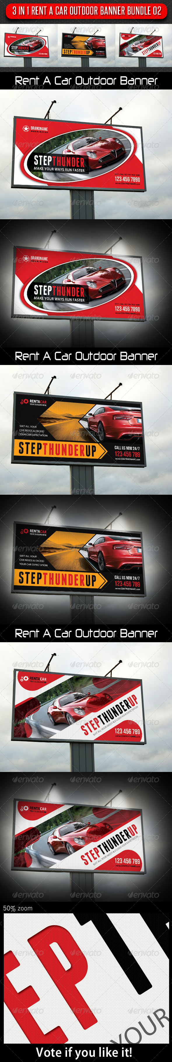 3 in 1 Rent A Car Outdoor Banner Bundle 02 - Signage Print Templates