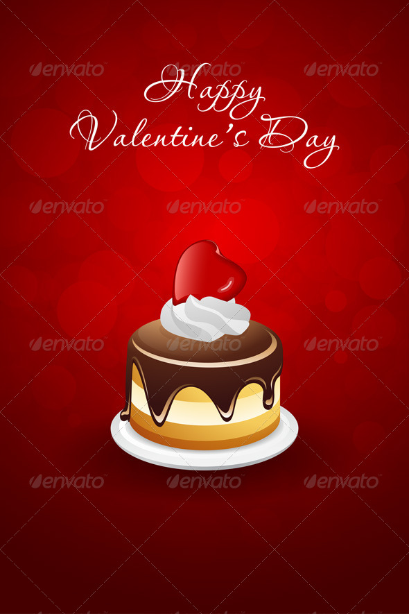 Valentines Day Card with Cake and Red Heart - Valentines Seasons/Holidays