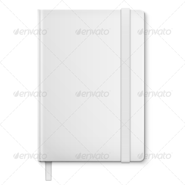 Realistic White Blank Notebook With bookmark. - Man-made Objects Objects