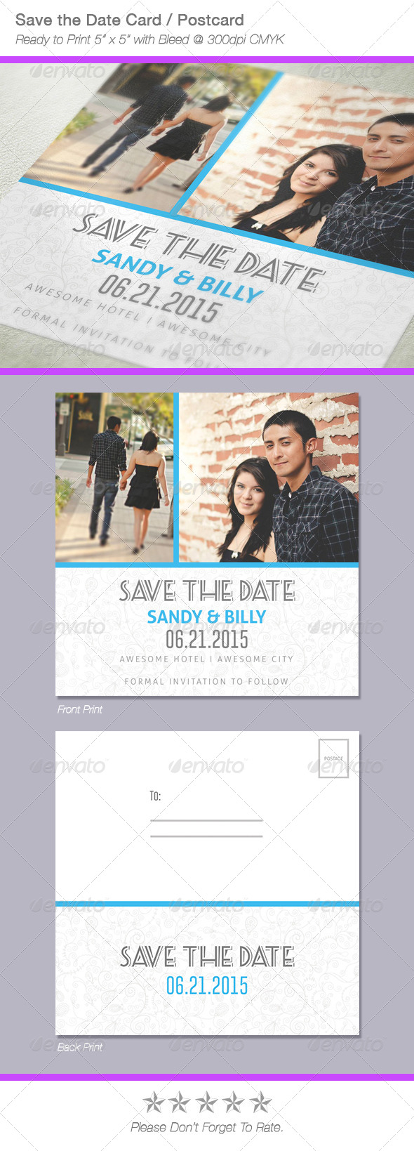 Fresh Save The Date Postcard / Card - Weddings Cards & Invites