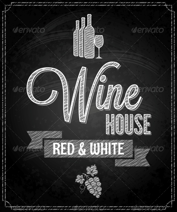 Wine Menu Design Chalkboard Background - Food Objects