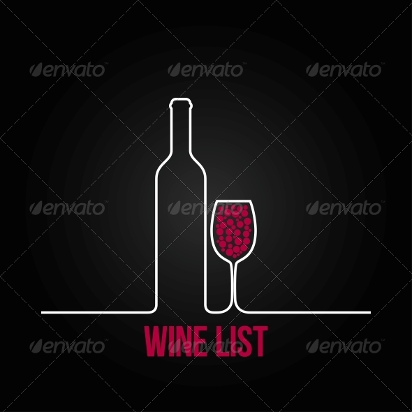 Wine Bottle Glass List Design Menu Background - Food Objects