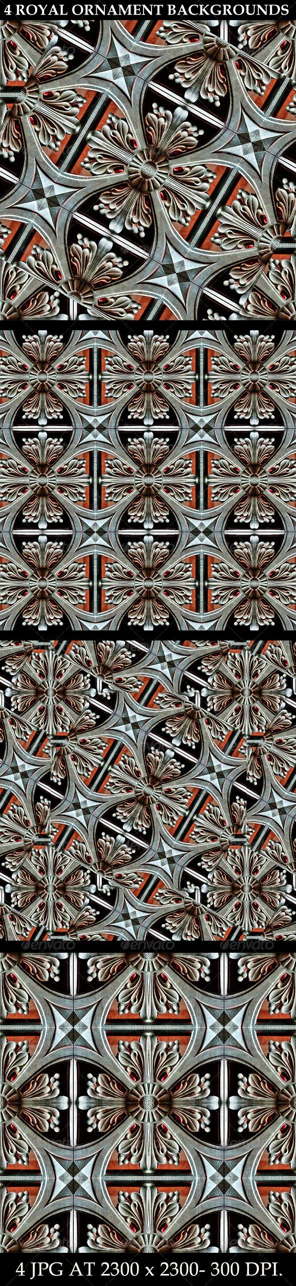 4 Royal Ornament Backgrounds - Patterns Backgrounds