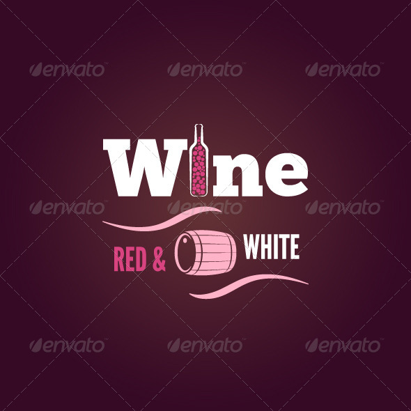 Wine Bottle Red and White Design Background - Food Objects