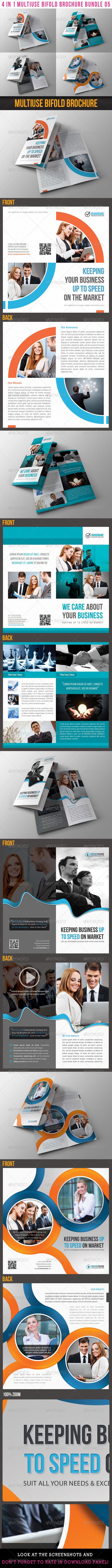 4 in 1 Multiuse Bifold Brochure Bundle 05 - Corporate Brochures