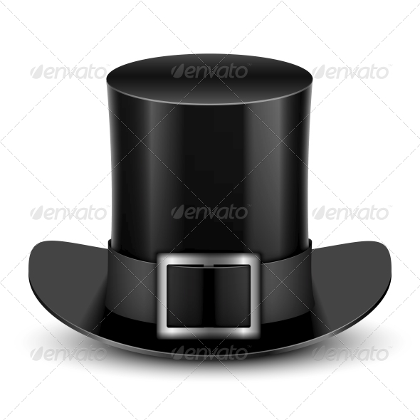 Black Top Hat With Metallic Buckle - Man-made Objects Objects