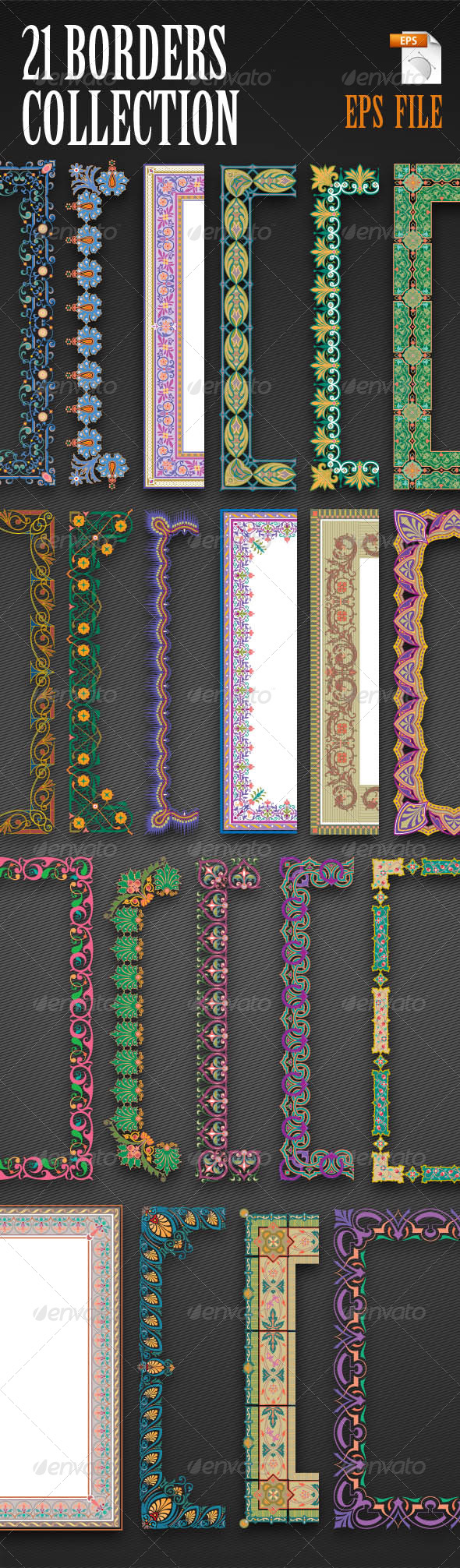 21 Vector Border Collection - Borders Decorative