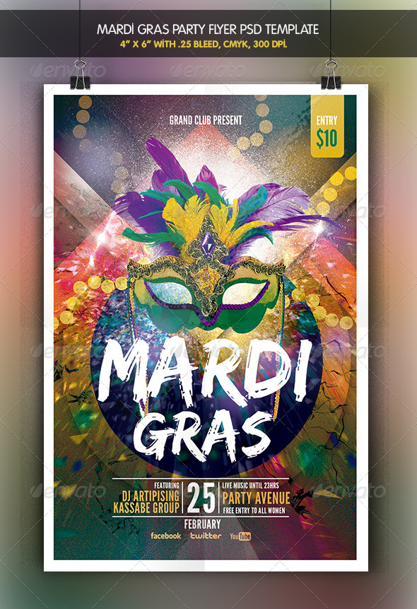 Mardi Grass | Party Flyer - Clubs & Parties Events