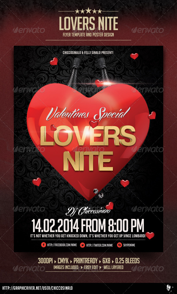 Lovers Nite Flyer Template - Flyers Print Templates