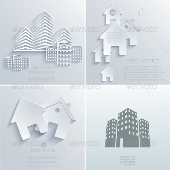 Vector Real Estate Icon Backgrounds EPS10 - Buildings Objects